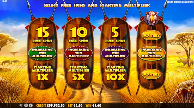 Great Rhino Megaways Free Spins